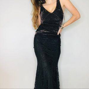 Free People black lace velvet burnout beaded maxi